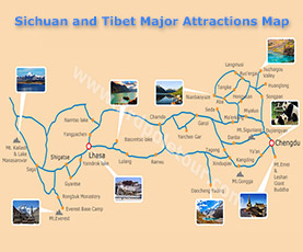 Map of Sichuan and Tibet Small Group Tour