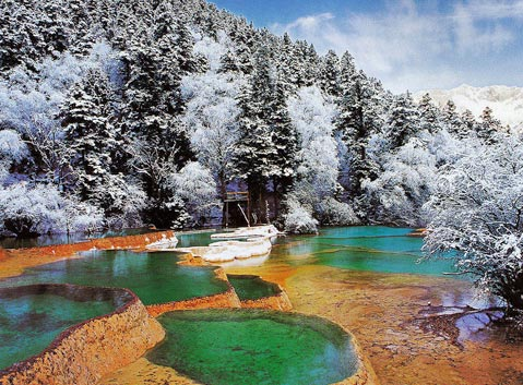 Five-color Ponds in Huanglong in Winter