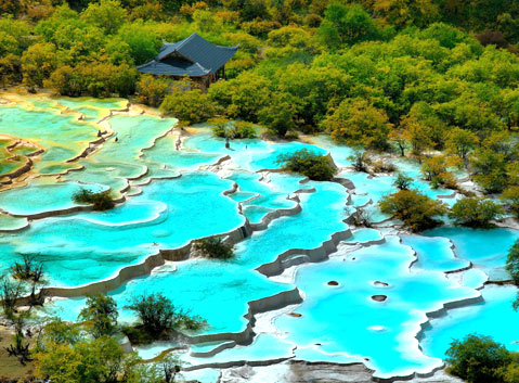 Five-color Ponds in Huanglong National Park