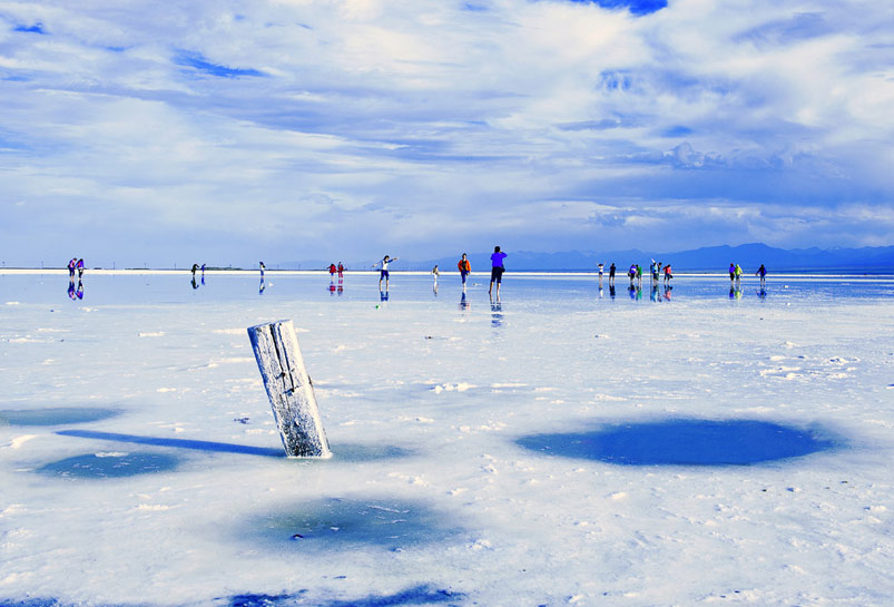 Standing on the salt crystals of Chaka Salt Lake
