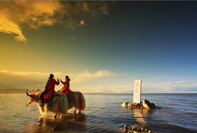 The Sunset of Qinghai Lake