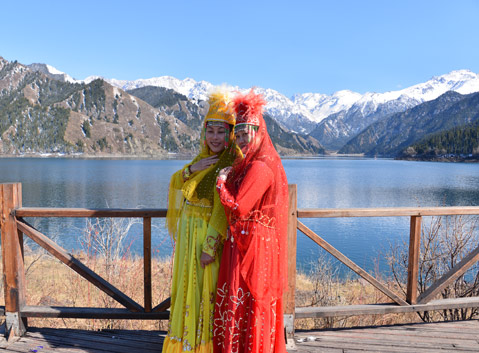 Uyghur Women at the Heavenly Lake