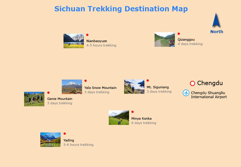 Sichuan Trekking Destinations Map