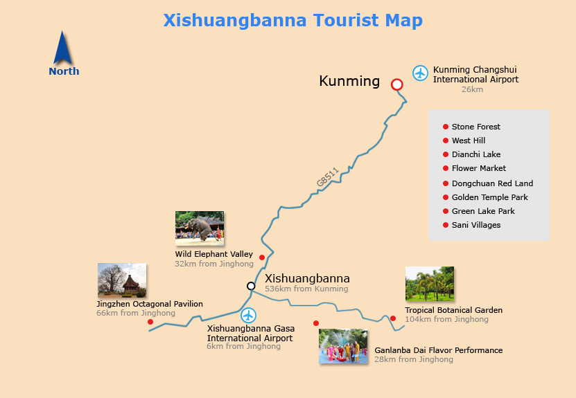 Xishuangbanna Tourist Map