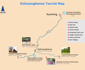 Map of Xishuangbanna