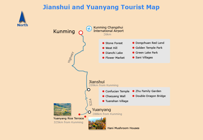 Jianshui and Yuanyang Tourist Map