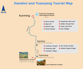 Map of Yuanyang & Jianshui