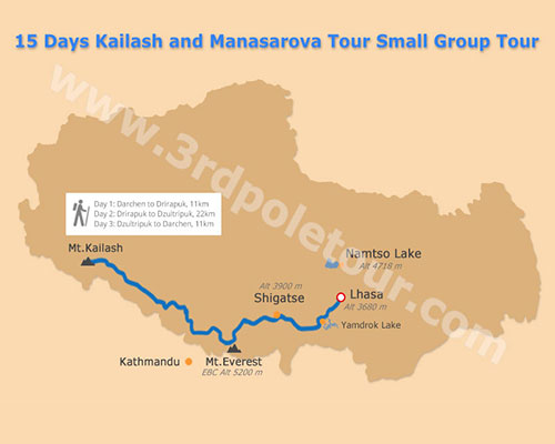 Map of 15 Days Mount Kailash Group Tour in Tibet