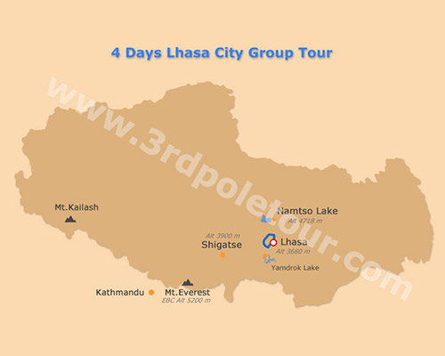 Map of 4 Days Lhasa City Group Tour