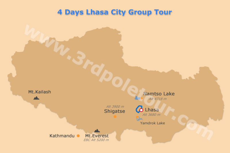Lhasa City Tour Map