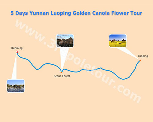 Map of 5 Days Yunnan Luoping Canola Flower Tour