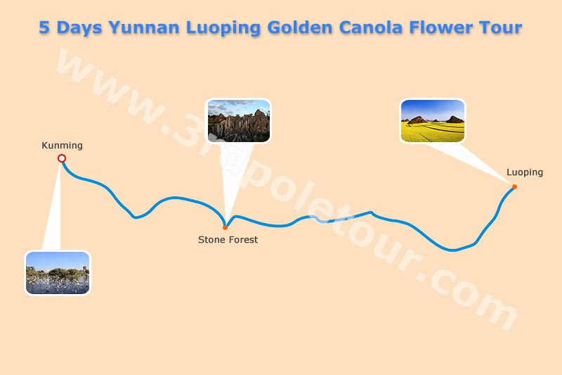 5 Days Yunnan Luoping Canola Flower Tour Map