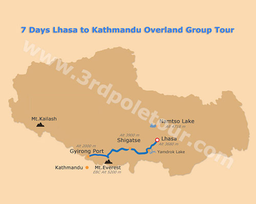 Map of 7 Days Lhasa to Kathmandu Overland Group Tour