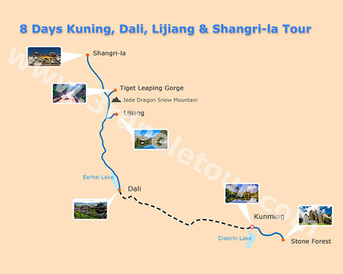 Map of 8 Days Kunming Dali Lijiang Shangri-la Tour