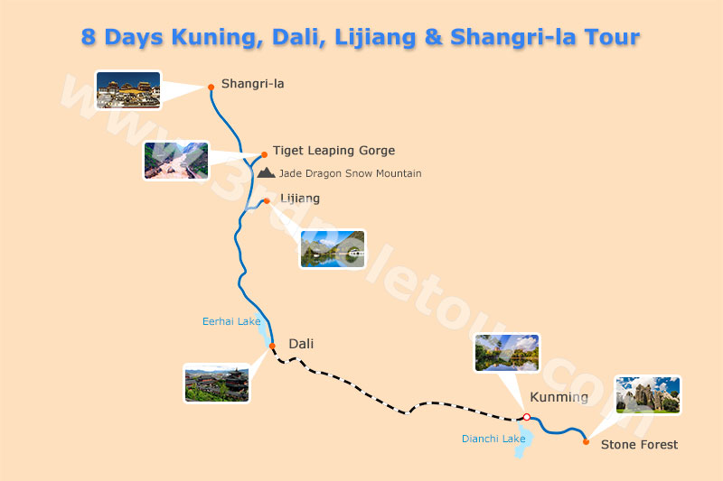 8 Days Kunming Dali Lijiang Shangri-la Tour Map