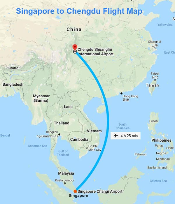 Singapore to Chengdu Flight Map