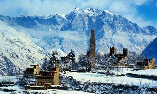 Zhonglu Tibetan Village in winter
