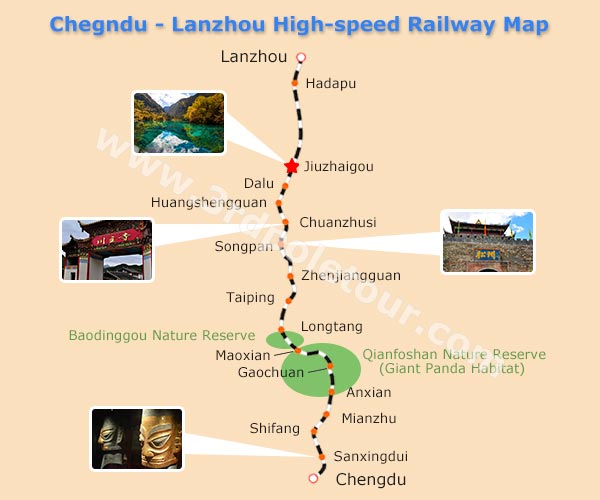 Chengdu to Jiuzhaigou Train - Chengdu-Lanzhou High-speed Railway Map
