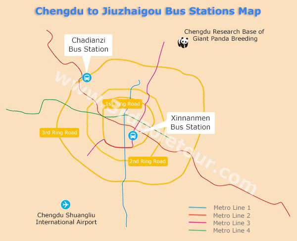 Chengdu to Jiuzhaigou Bus Station Map