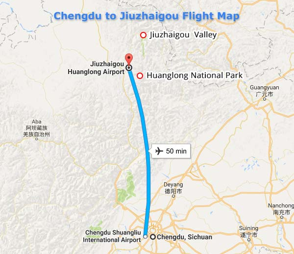 Chengdu to Jiuzhaigou Flight Map