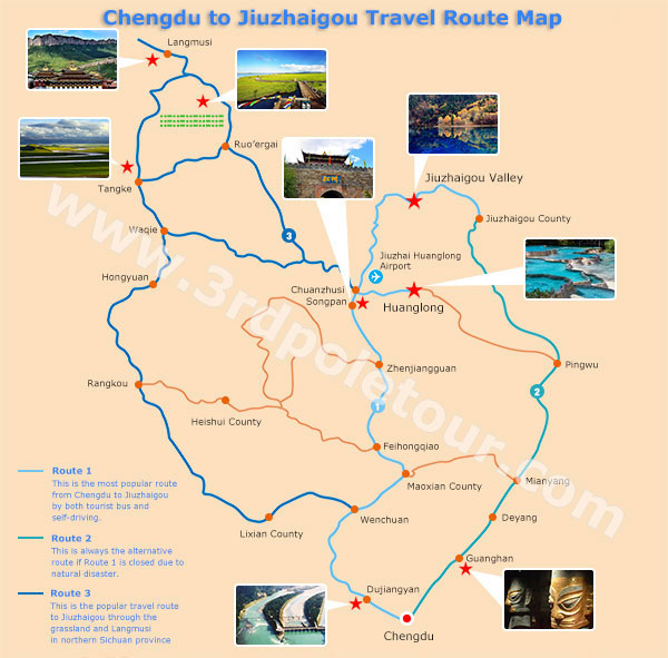 Chengdu to Jiuzhaigou Travel Maps Maps of Chengdu to Jiuzhaigou
