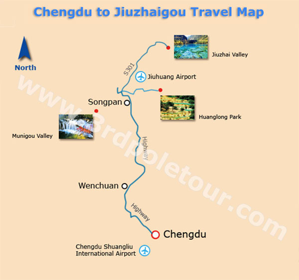 Chengdu to Jiuzhaigou Travel Map