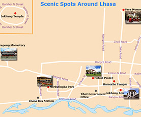 Tourist Map of Lhasa & Surroundings
